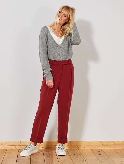Pantalon pince carotte                                                     rouge brique