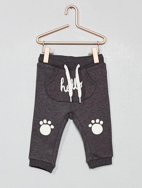 Pantalon poche kangourou en molleton imprimé                                                                             anthracite hello
