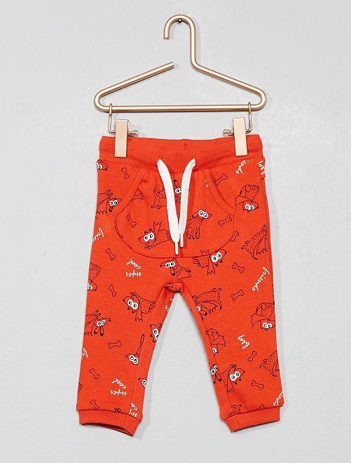 Pantalon poche kangourou en molleton imprimé                                                                             rouge chiens Bébé garçon