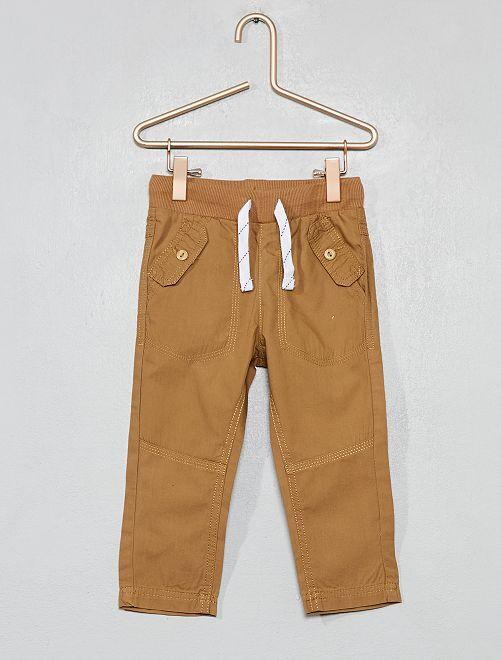 Pantalon poches boutonnées                                                                 beige