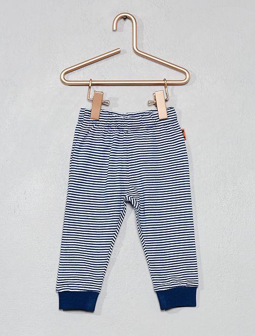 Pantalon pur coton                                         rayé bleu Bébé garçon