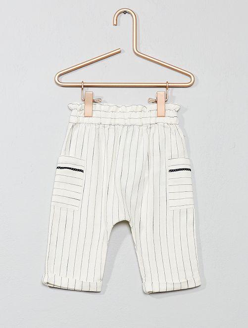 Pantalon rayé                             beige Bébé fille