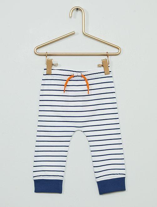 Pantalon rayé 'crabe'                             blanc