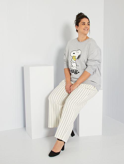 Pantalon rayé taille haute                             blanc
