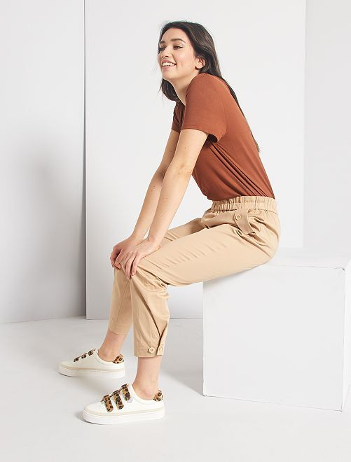 Pantalon regular à taille élastique                                         beige