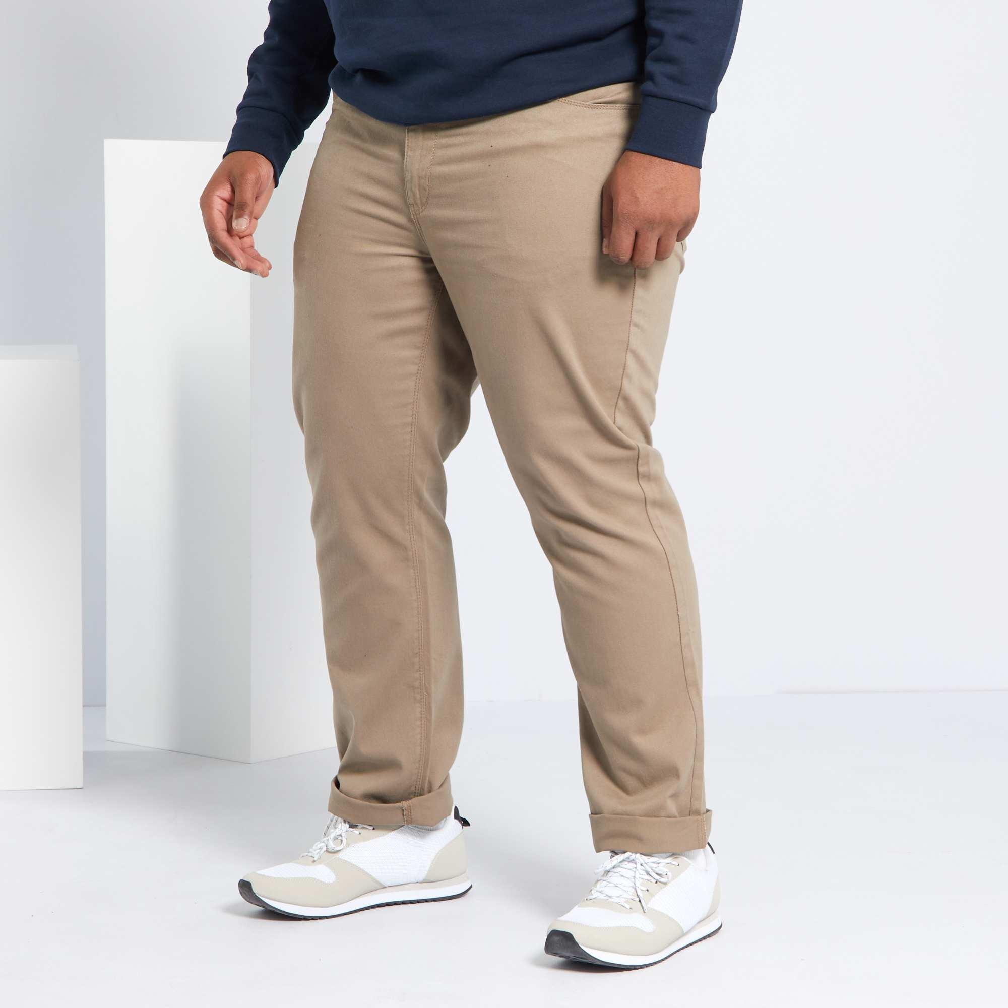 pantalon regular en gabardine grande taille homme beige. Black Bedroom Furniture Sets. Home Design Ideas
