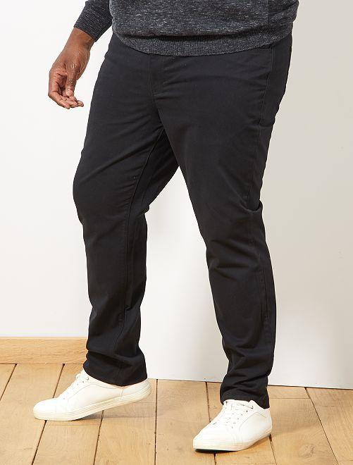 Pantalon regular en gabardine                                                     noir Grande taille homme
