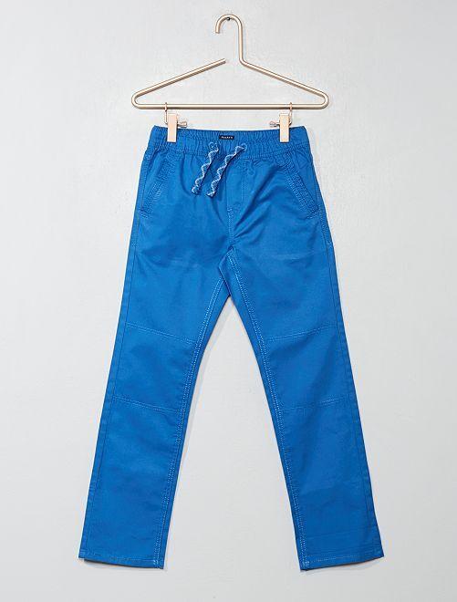 Pantalon regular pur coton                                                                 bleu