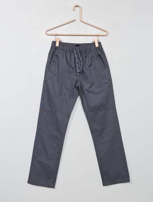 Pantalon regular pur coton                                                                 gris Garçon