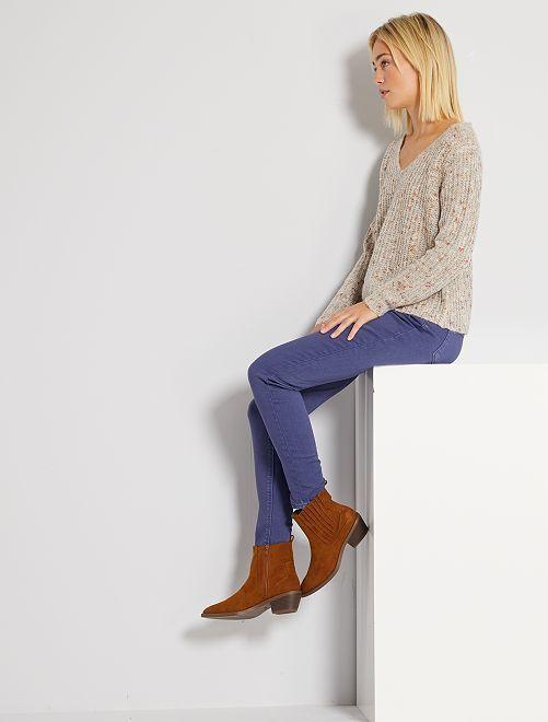 Pantalon regular taille haute                                                                 bleu