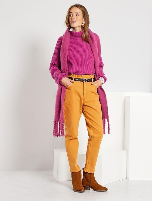 Pantalon regular taille haute                                                                 jaune
