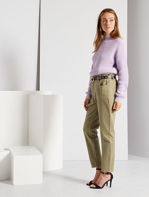 Pantalon regular taille haute                                                                 kaki