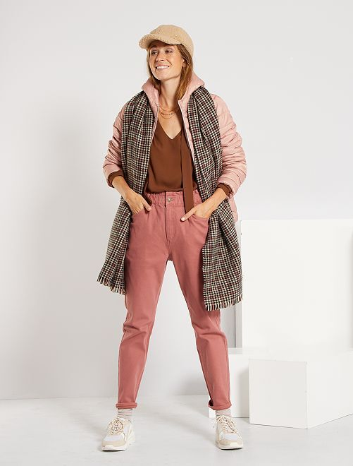 Pantalon regular taille haute                                                                 vieux rose