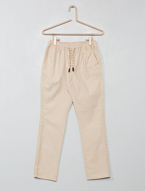Pantalon regular uni                                                                     beige