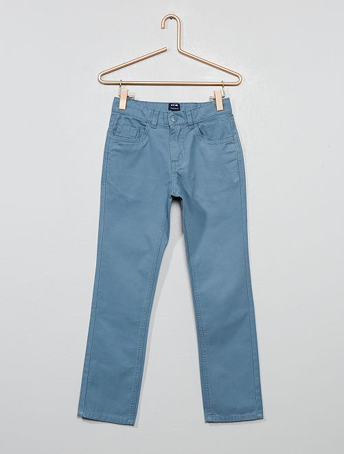 Pantalon regular uni                                                                     bleu gris