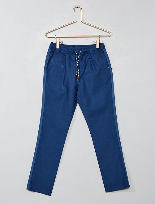 Pantalon regular uni                     bleu navy