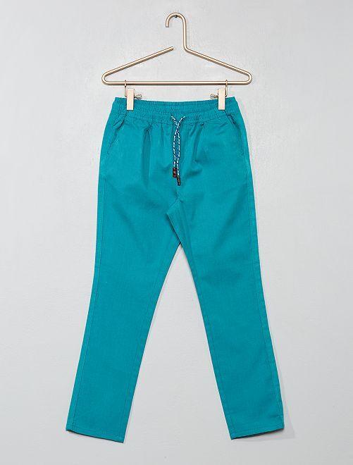 Pantalon regular uni                                                                                         bleu vert Garçon