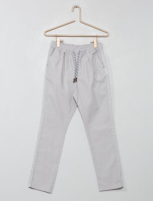 Pantalon regular uni                                                                                         gris Garçon