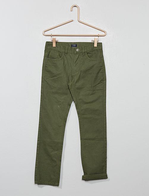Pantalon regular uni                                                                 vert foncé