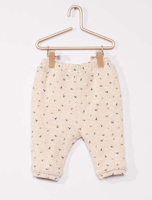 Pantalon réversible en maille doudou                                         BEIGE