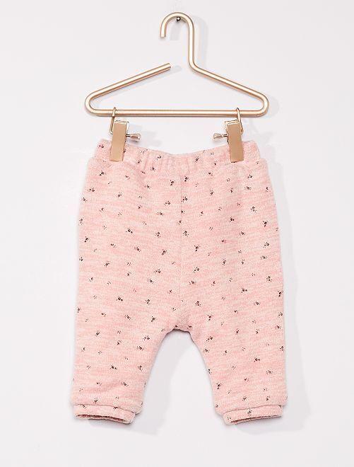 Pantalon réversible en maille doudou                                         ROSE