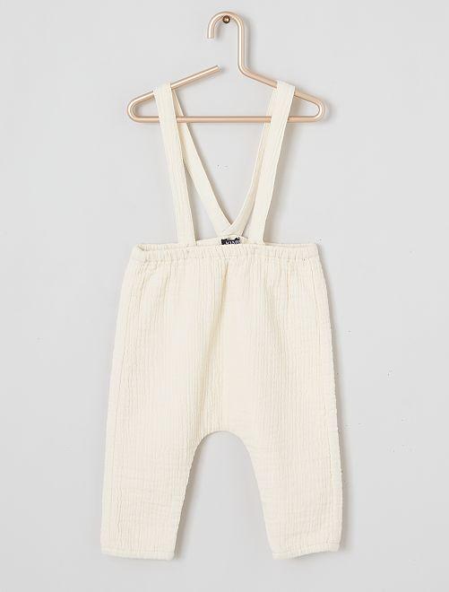 Pantalon sarouel à bretelles                             écru