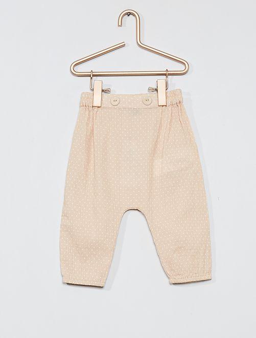 Pantalon sarouel à pois                             beige pois