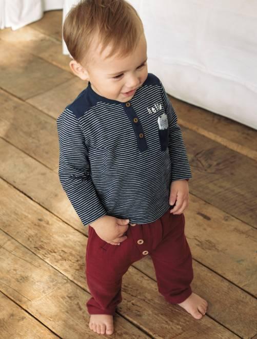 Pantalon sarouel détails boutons rouge brique Bébé garçon