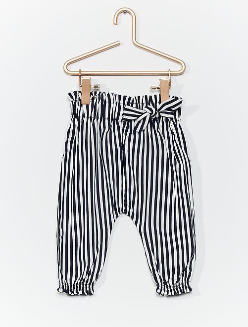 Pantalon sarouel imprimé                                                                             bleu rayé
