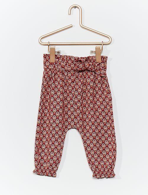 Pantalon sarouel imprimé                                                                             bordeaux/rose