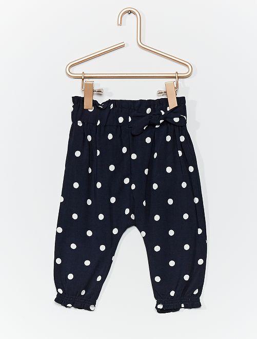 Pantalon sarouel imprimé                                                         marine pois
