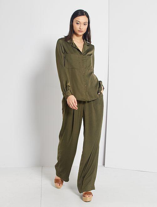 Pantalon satiné                                                                 vert foncé