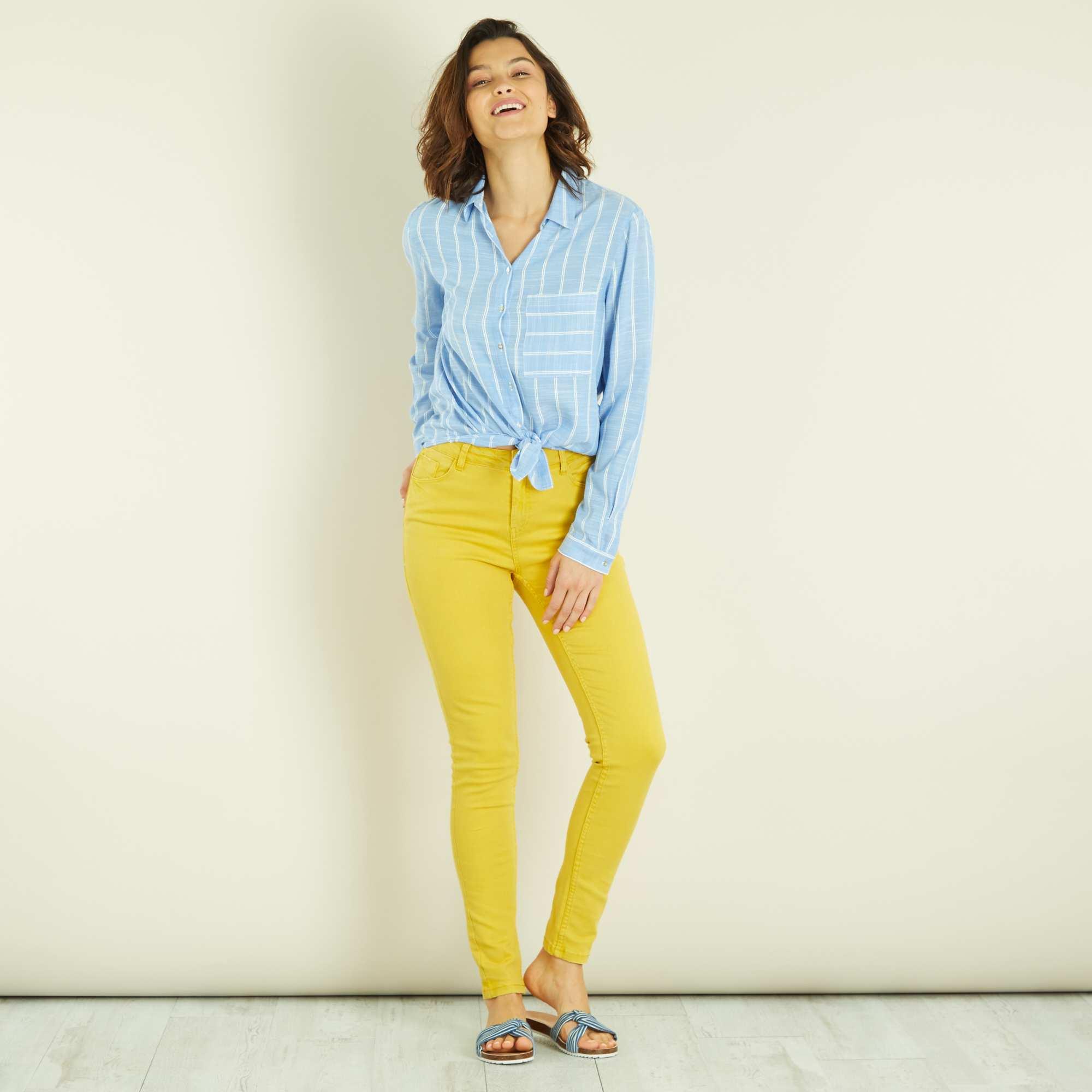 pantalon skinny 7 8e et taille haute femme jaune kiabi 14 40. Black Bedroom Furniture Sets. Home Design Ideas
