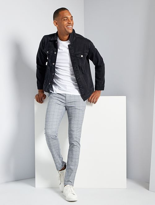 Pantalon skinny à carreaux                             carreaux noir/blanc