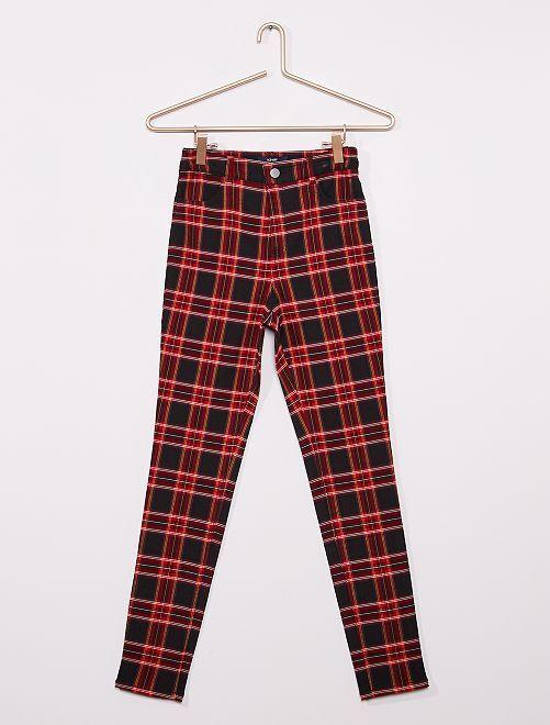 Pantalon skinny à carreaux                             noir/rouge