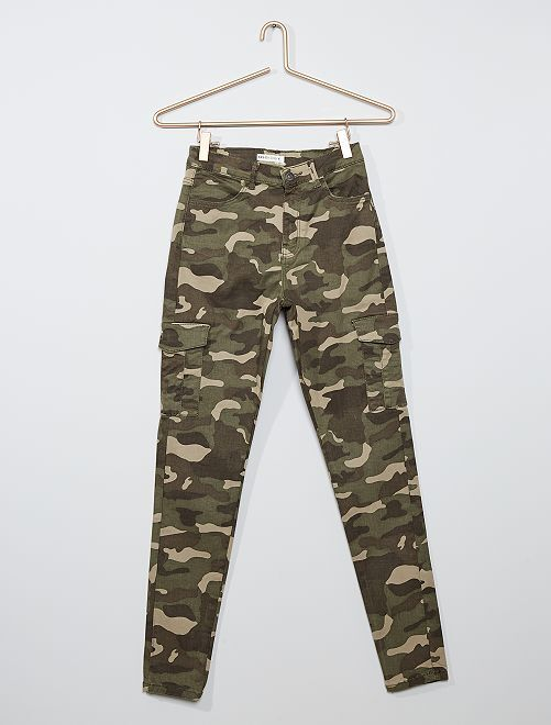 Pantalon skinny cropped taille très haute                                                     camouflage
