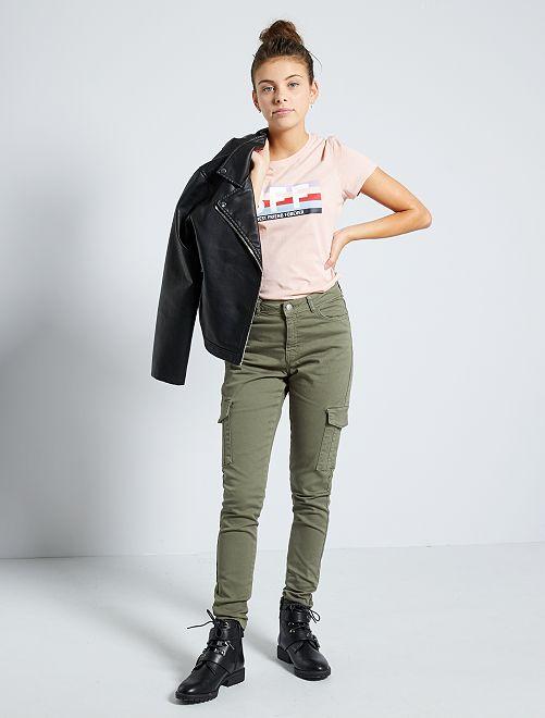 Pantalon skinny cropped taille très haute                                                     kaki