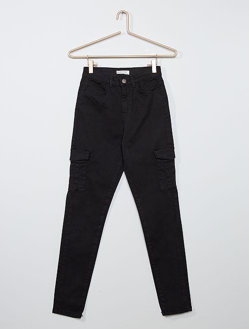 Pantalon skinny cropped taille très haute                                                     noir
