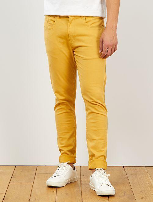 Pantalon skinny en coton stretch                                                     jaune