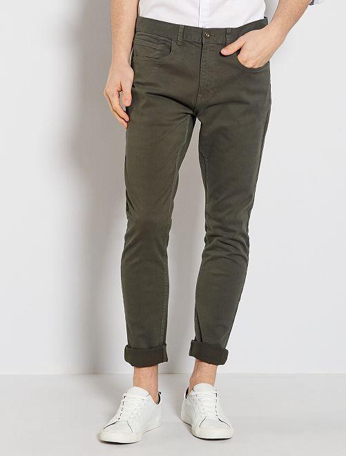 Pantalon skinny en coton stretch                                                     kaki