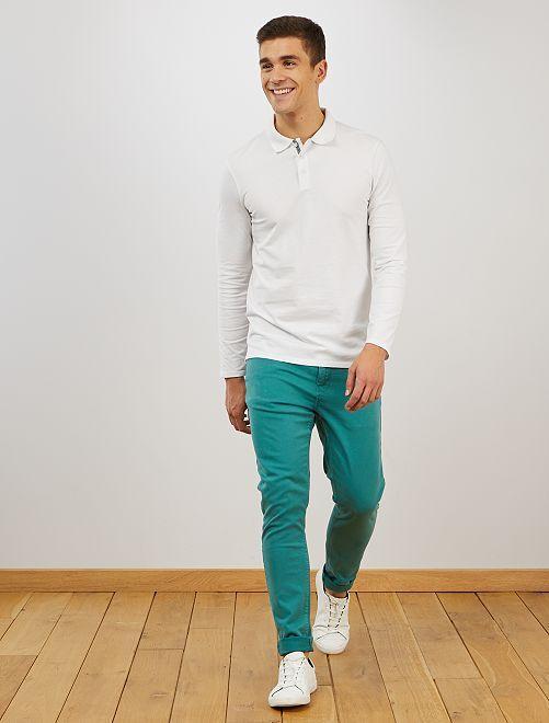 Pantalon skinny en coton stretch                                         vert