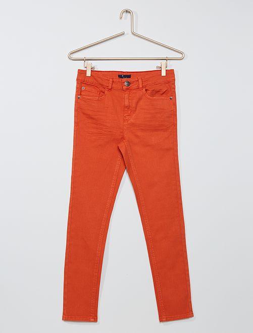 Pantalon skinny en twill éco-conçu                                                     orange