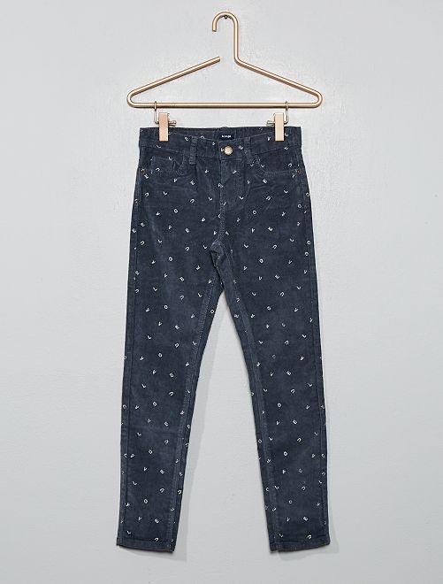 Pantalon skinny en velours côtelé                                                                                                     gris Fille