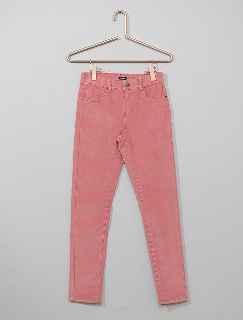 Pantalon skinny en velours côtelé                                                                                                     vieux rose Fille