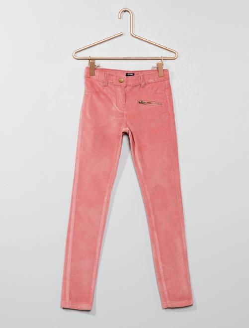Pantalon skinny en velours                                                                 ROSE Fille
