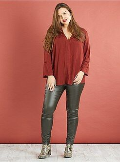 Grande taille femme Pantalon skinny enduit poches zippées