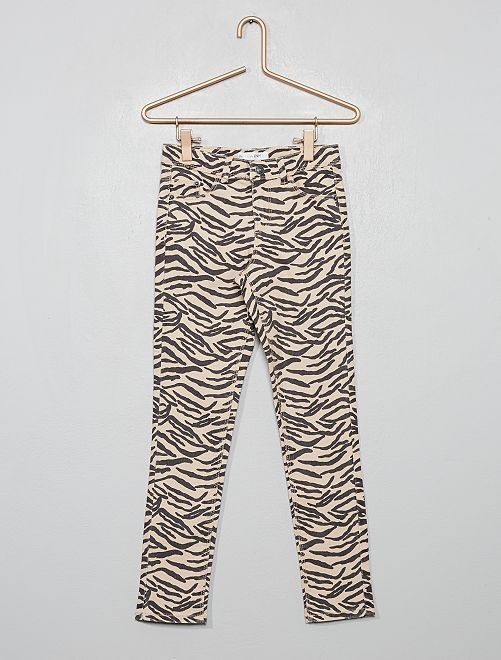Pantalon skinny imprimé                                             beige rosé zèbre