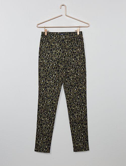 Pantalon skinny imprimé léopard                                                     kaki léopard