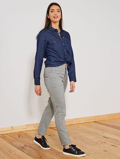pantalon skinny imprim femme pied de poule kiabi 15 00. Black Bedroom Furniture Sets. Home Design Ideas