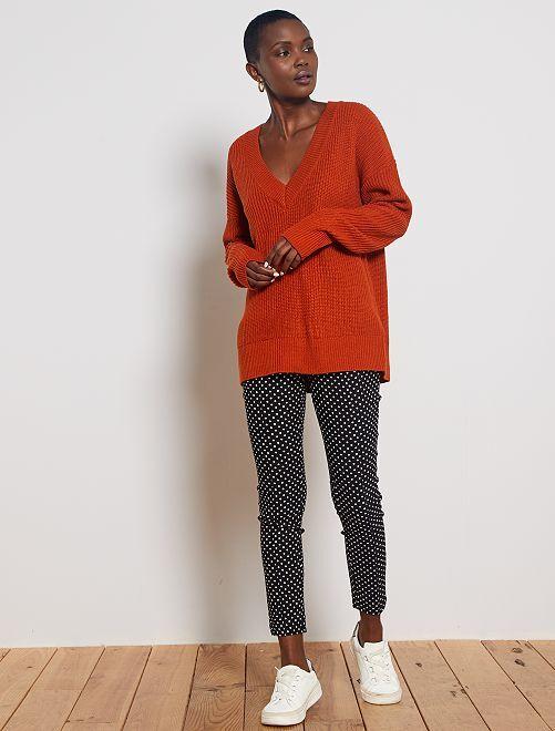 Pantalon skinny imprimé 'pois'                                                     noir pois